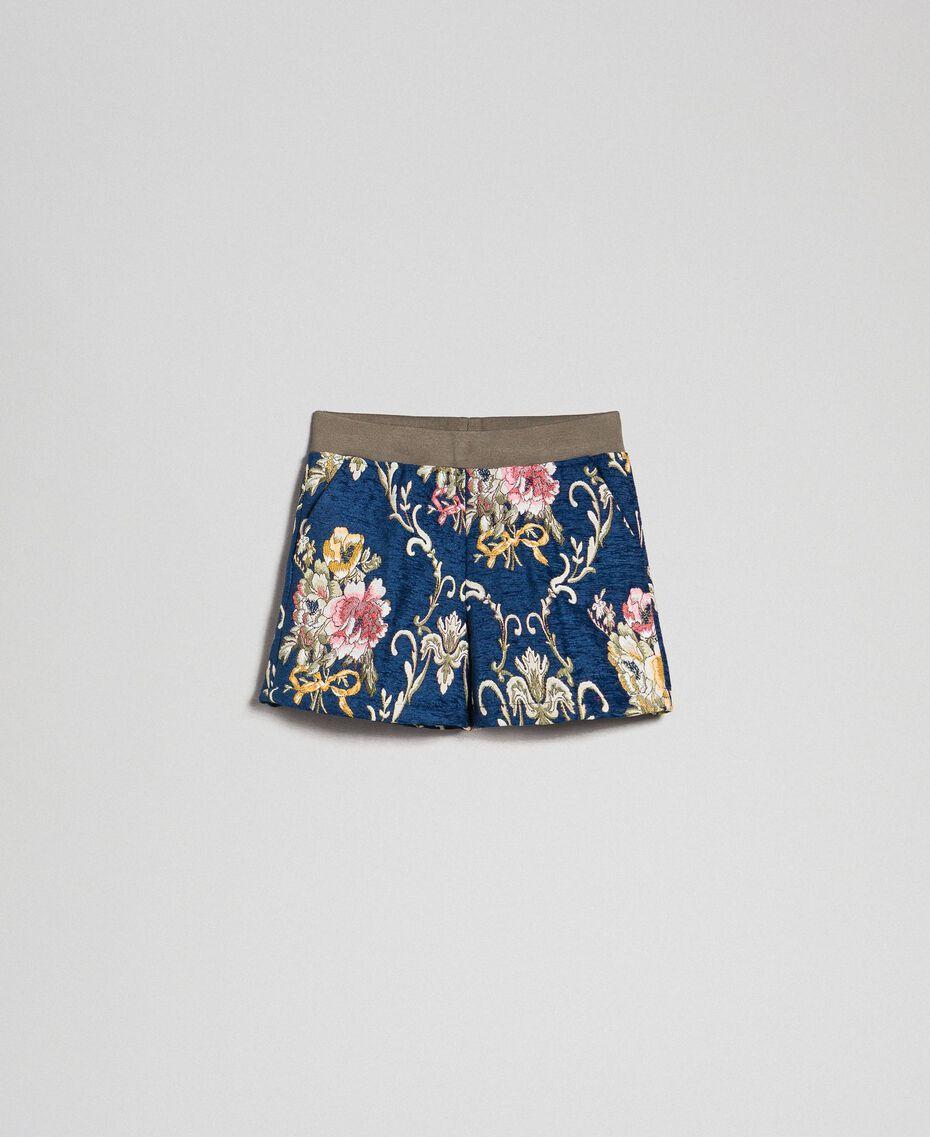 "Floral brocade shorts ""Mediterranean"" Blue Brocade Jacquard Child 192GJ2445-0S"