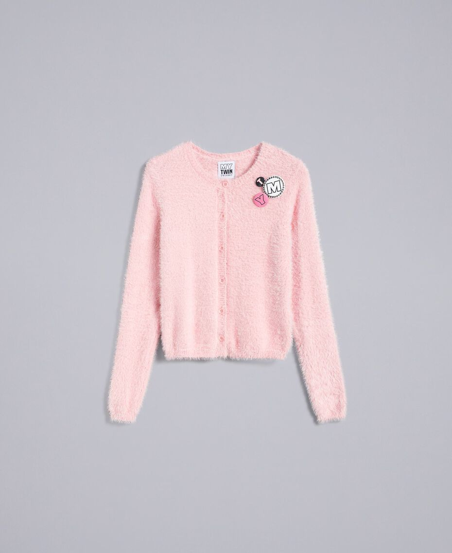 Cardigan in fur knit con spille Rose Cloud Donna JA83GB-0S