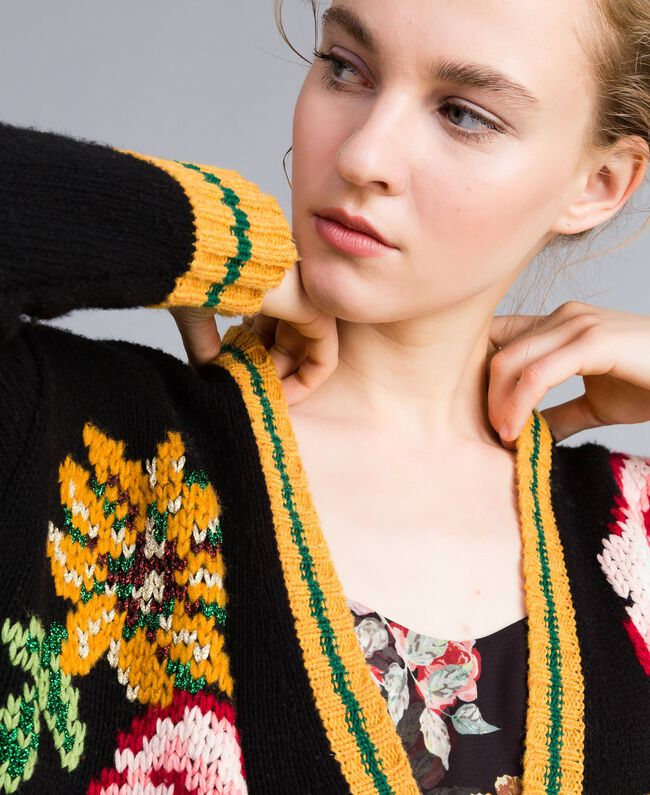 Maxi cardigan en laine mélangée Noir Femme PA83HN-04