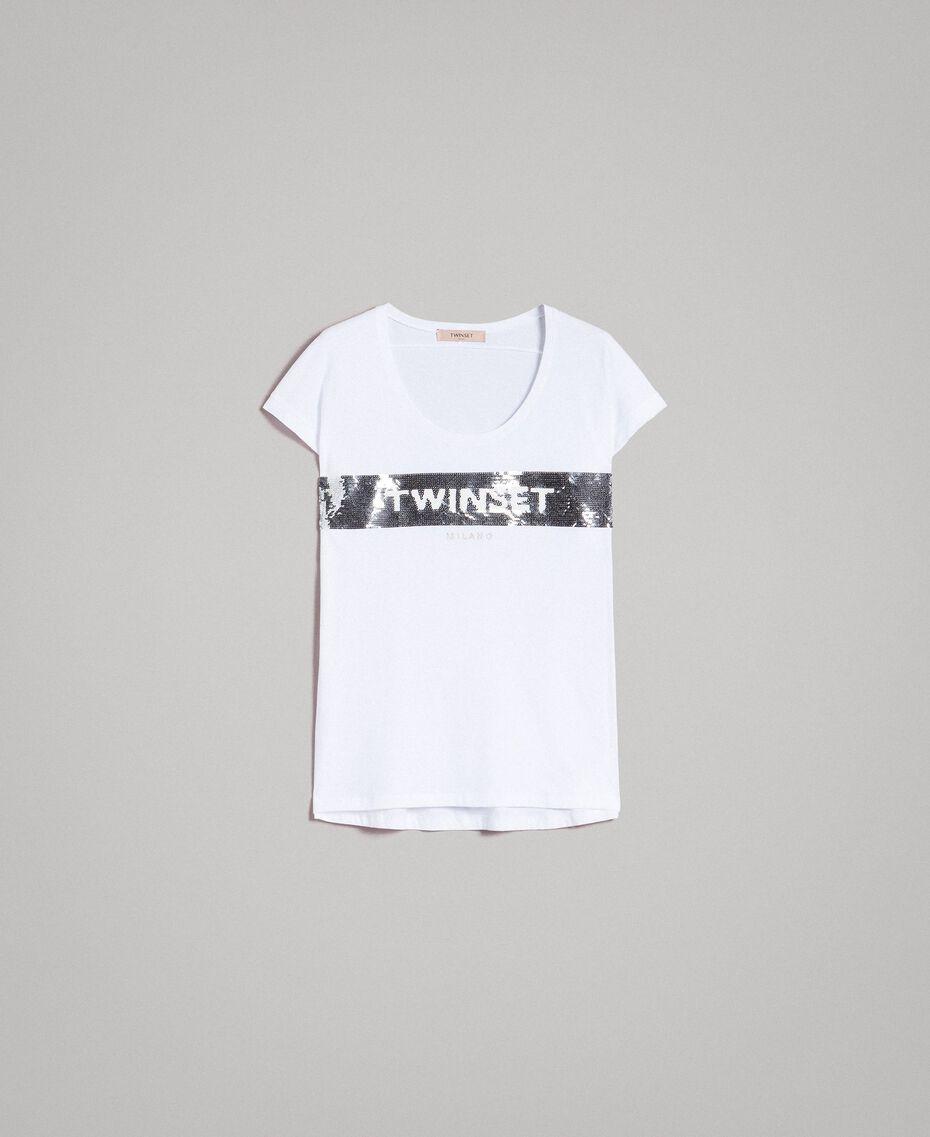 T-shirt avec sequins et logo Blanc Femme 191TP260E-0S