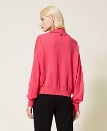 """Maglia a polo con stelle Bicolor Rosa """"Bubblegum"""" / Nero Donna 212AP3122-03"""