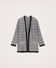 Long tweed jacket with embroidery Black Woman 201LB23BB-0S