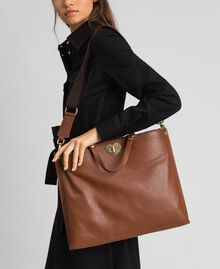 Large leather shopping bag with shoulder strap Leather Brown Woman 192TO8090-0S