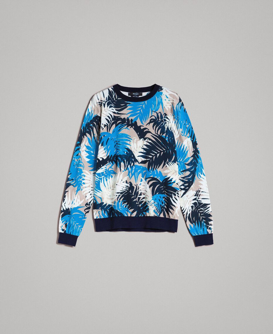 """Crêpe cotton printed jumper All Over """"Palms"""" Camouflage Print Man 191UT3060-0S"""