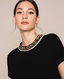 Asymmetric top with embroidery Black Woman 201LB25EE-04