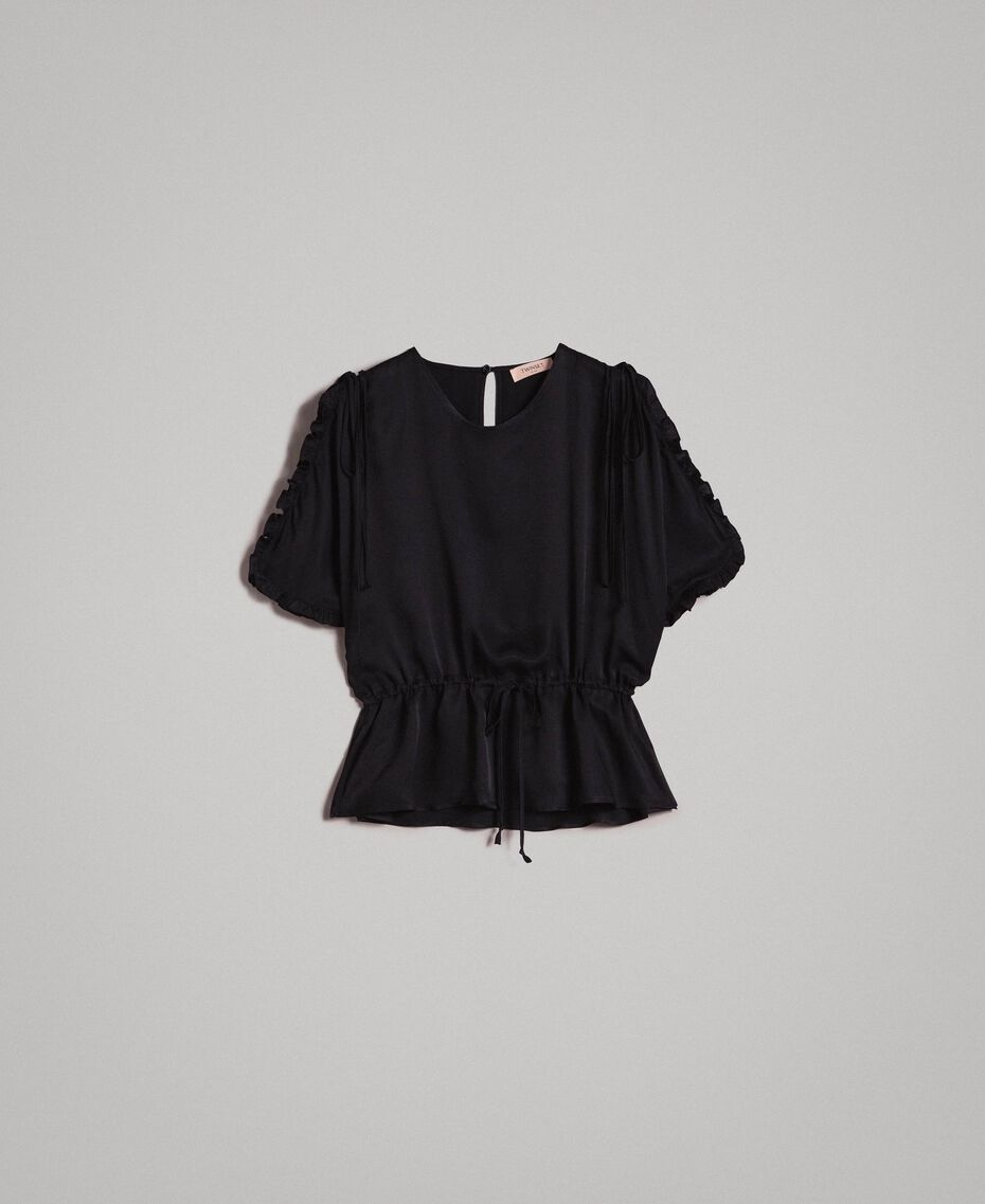 Silk blend blouse with ruches Black Woman 191TT2071-0S
