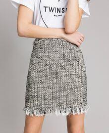 "Fringed tweed mini skirt Two-tone ""Snow"" White Bouclé / Black Woman 191TP2527-01"