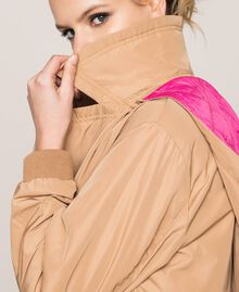 Double breasted taffeta trench coat Light Brown Woman 201ST2072-04