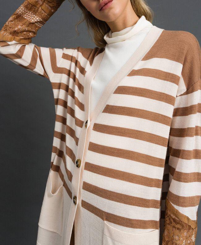 Maxi cardigan en laine mélangée avec rayures et dentelle Blanc Crème / Beige «Séquoia» Femme 192ST3011-04