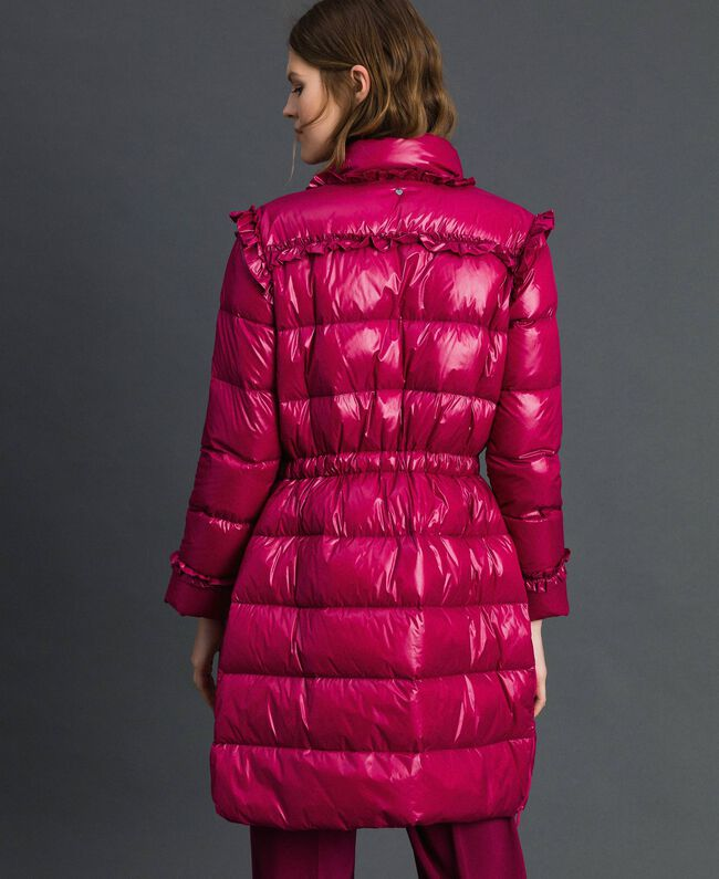 Long quilted padded jacket with real down Beet Red Woman 192TP2201-04