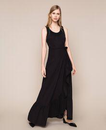 Long poplin skirt with ruffles Black Woman 201TT2036-01