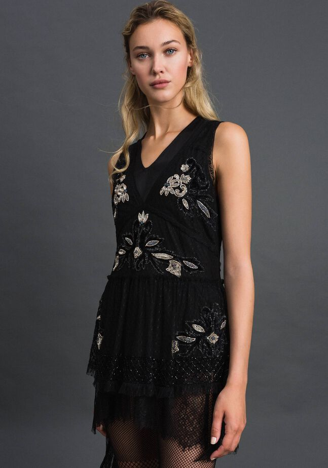 Plumetis tulle top with floral embroidery