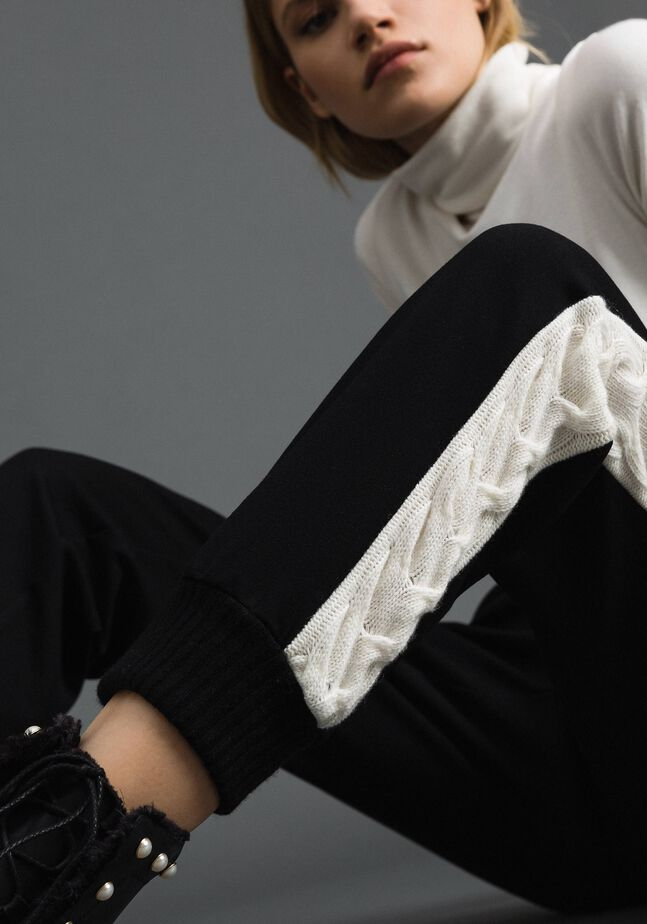 Jogging trousers with knit inlay