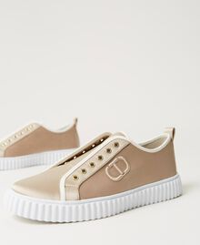Satin trainers with logo Incense Beige Woman 211TCT118-03