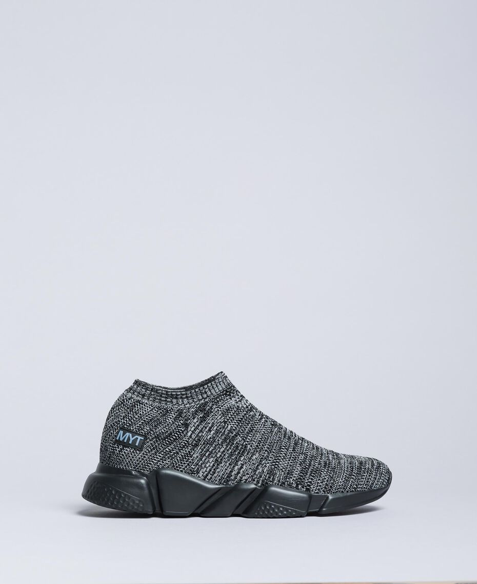 Knitted slip on sneakers Dark Gray Mélange Man UA8C91-02