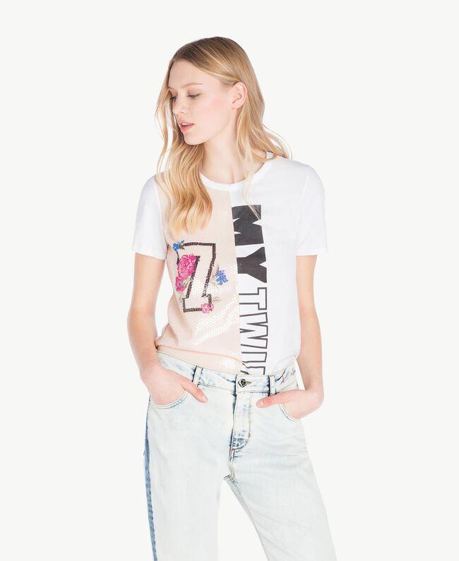 T-Shirt mit Pailletten Zweifarbig Optisches Weiß / Rosé-Organza Frau YS823H-01