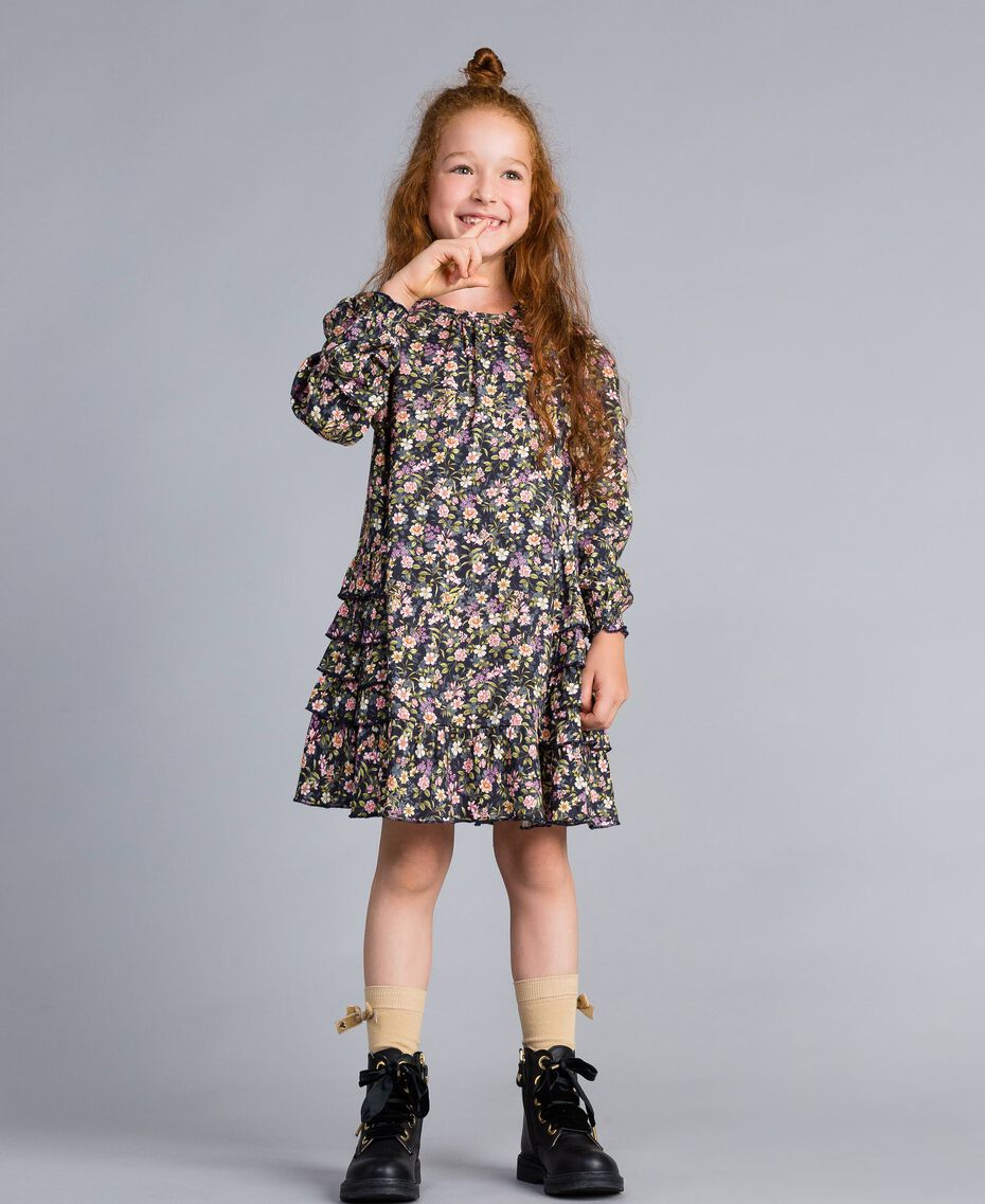 Printed viscose dress Micro Flower Print Child GA82TC-0S