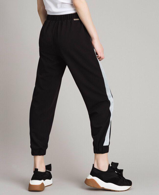 Jogging trousers with lurex panels Black Woman 191LL25KK-03