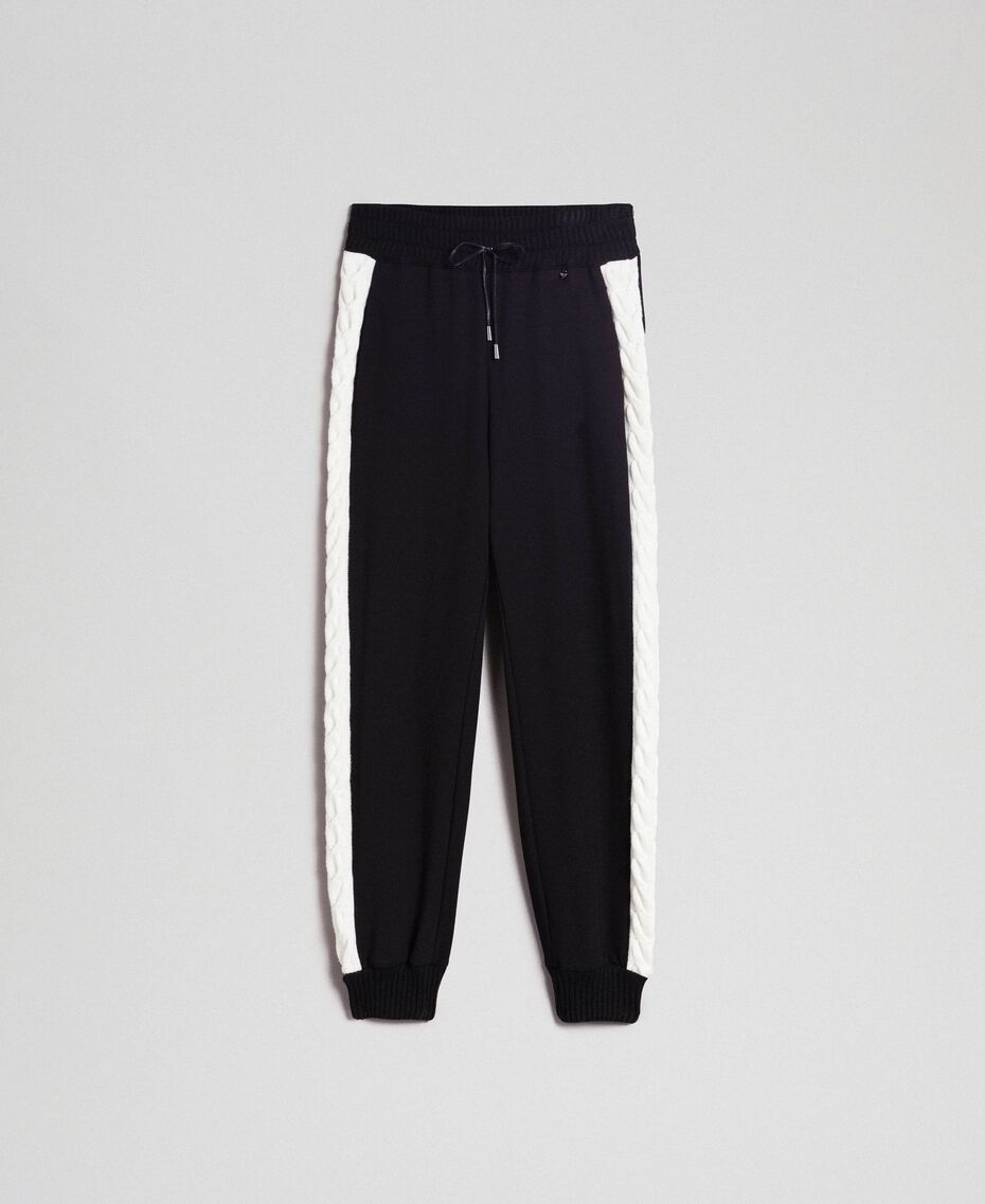 "Jogging trousers with knit inlay Bicolour Black / ""Snow"" White Woman 192TP2124-0S"