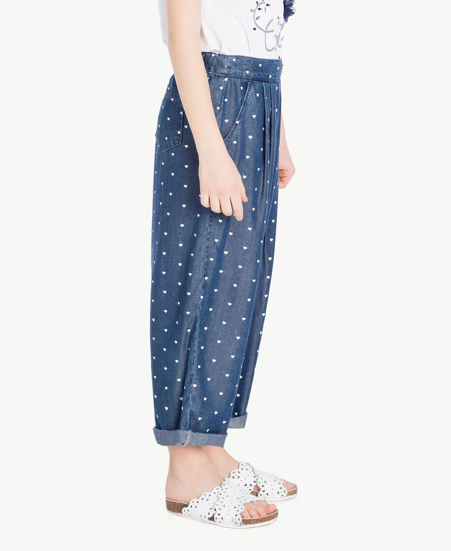 Heart trousers Denim Logo Print Child GS82MB-03