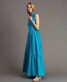 Robe longue en popeline Bleu Céramique Femme 191TT2233-05
