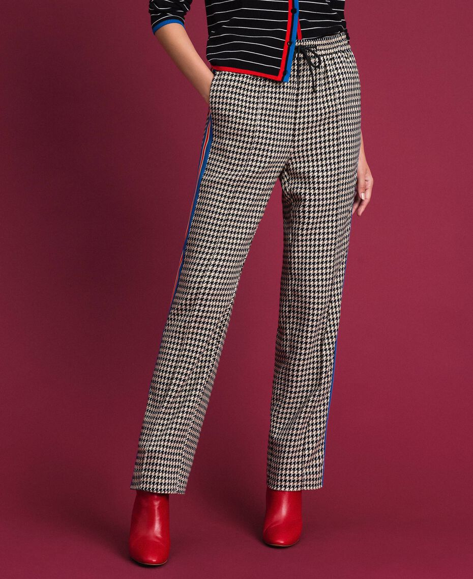 Houndstooth palazzo trousers Lily Houndstooth / Creme Caramel Woman 192MT2051-02