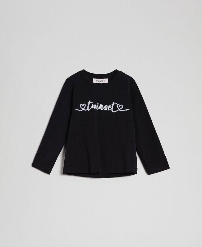 T-shirt avec logo en sequins Noir Enfant 192GB244C-01