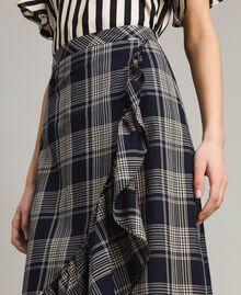 Jupe longue en coton à carreaux Jacquard à Carreaux Bleu Ombre Femme 191ST2133-04