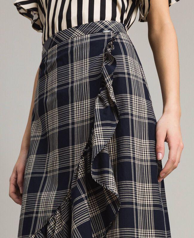 Long check cotton skirt Blue Shadow Check Jacquard Woman 191ST2133-04