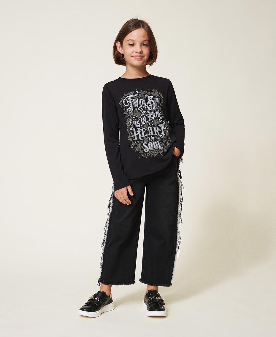 T-shirt with graphic pattern print Two-tone Black / Gothic Print Child 202GJ2354-01