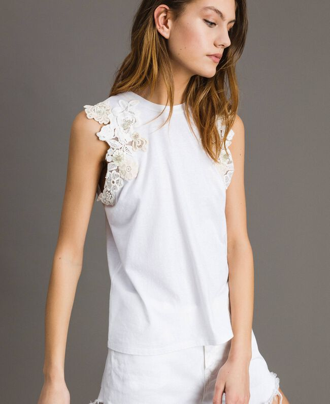 Trägerhemd mit Blumenapplikation Weiß Frau 191TT2201-05