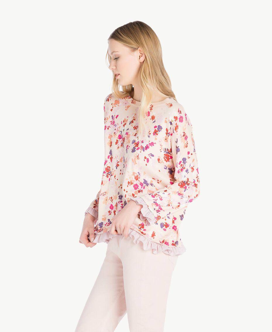 Pullover mit Print Multicolor-Blumen Quarzrosa Frau JS83NP-02