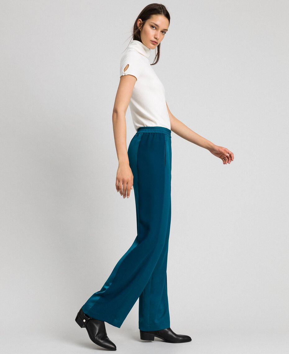 "Palazzo trousers with contrasting bands ""Lake"" Blue Woman 192MP2352-02"