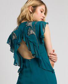 Robe longue en crêpe georgette avec broderies florales Bleu Vert minéral Femme 192TP2161-01