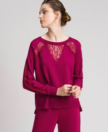 Jumper with lace inlays Beet Red Woman 192TP3172-01
