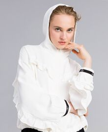 Veste en crêpe georgette avec ruches Blanc Neige Femme PA82HA-04