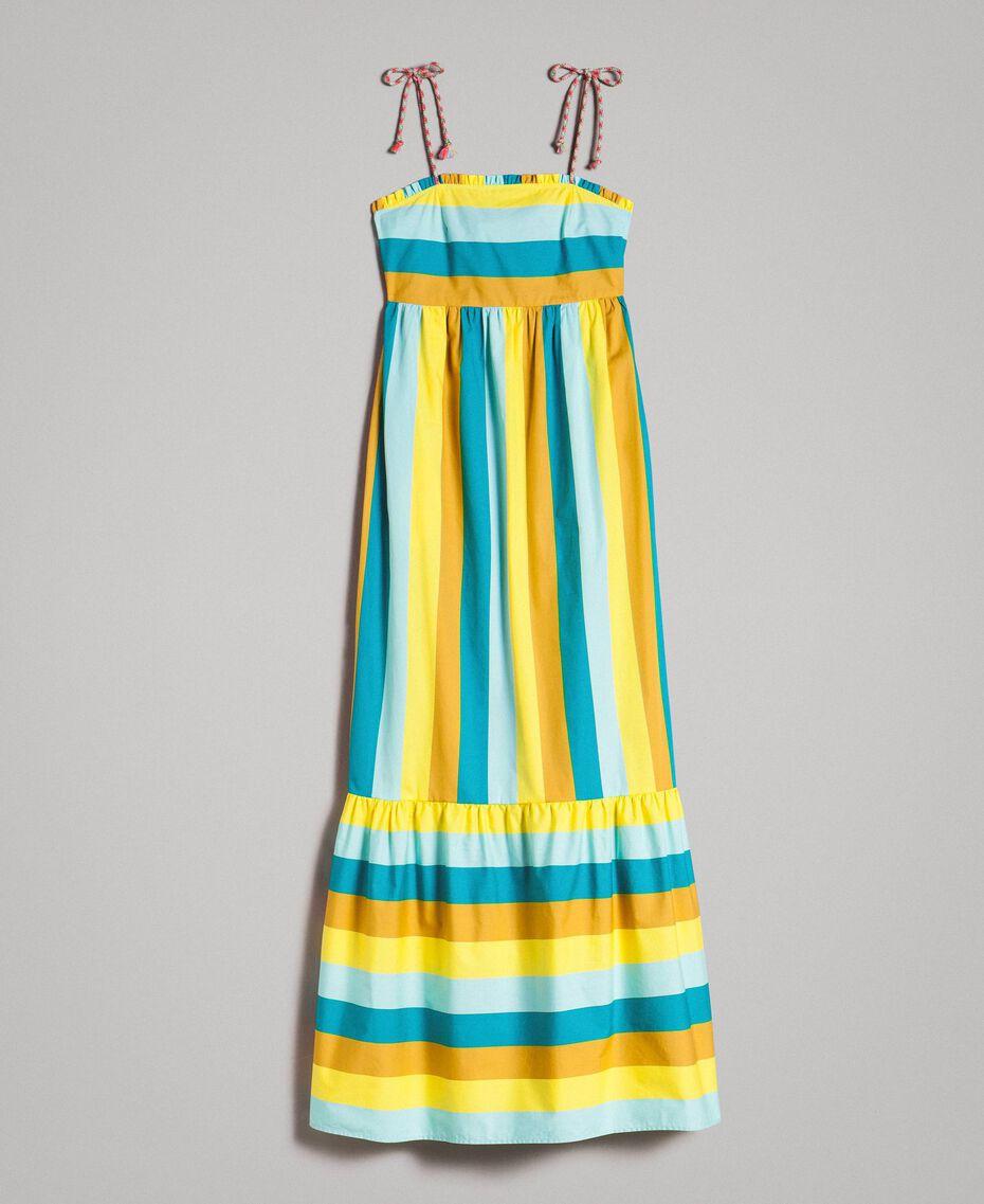 Mehrfarbig gestreiftes Popeline-Maxikleid Multicolour Motiv Keramikblau Frau 191TT2411-0S