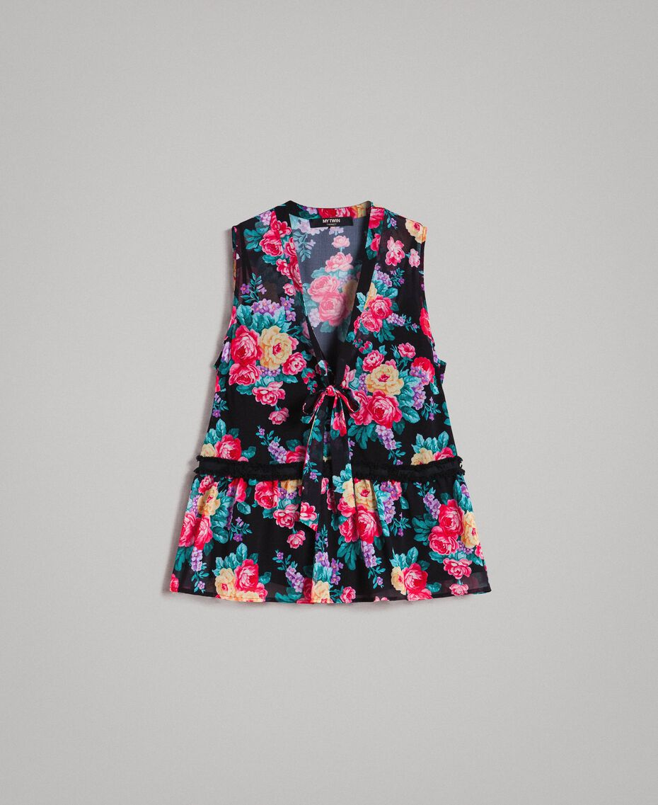 Georgette top with ribbon and flounce Black Flowers Print Woman 191MP2332-0S