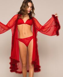 Tulle dressing gown with feathers Pomegranate Red Woman 201LL23WW-04