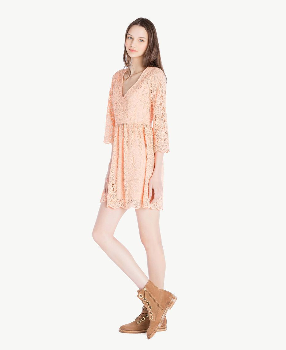 Kleid mit Spitze Rosafarbener Sonnenaufgang Frau SS82LE-02