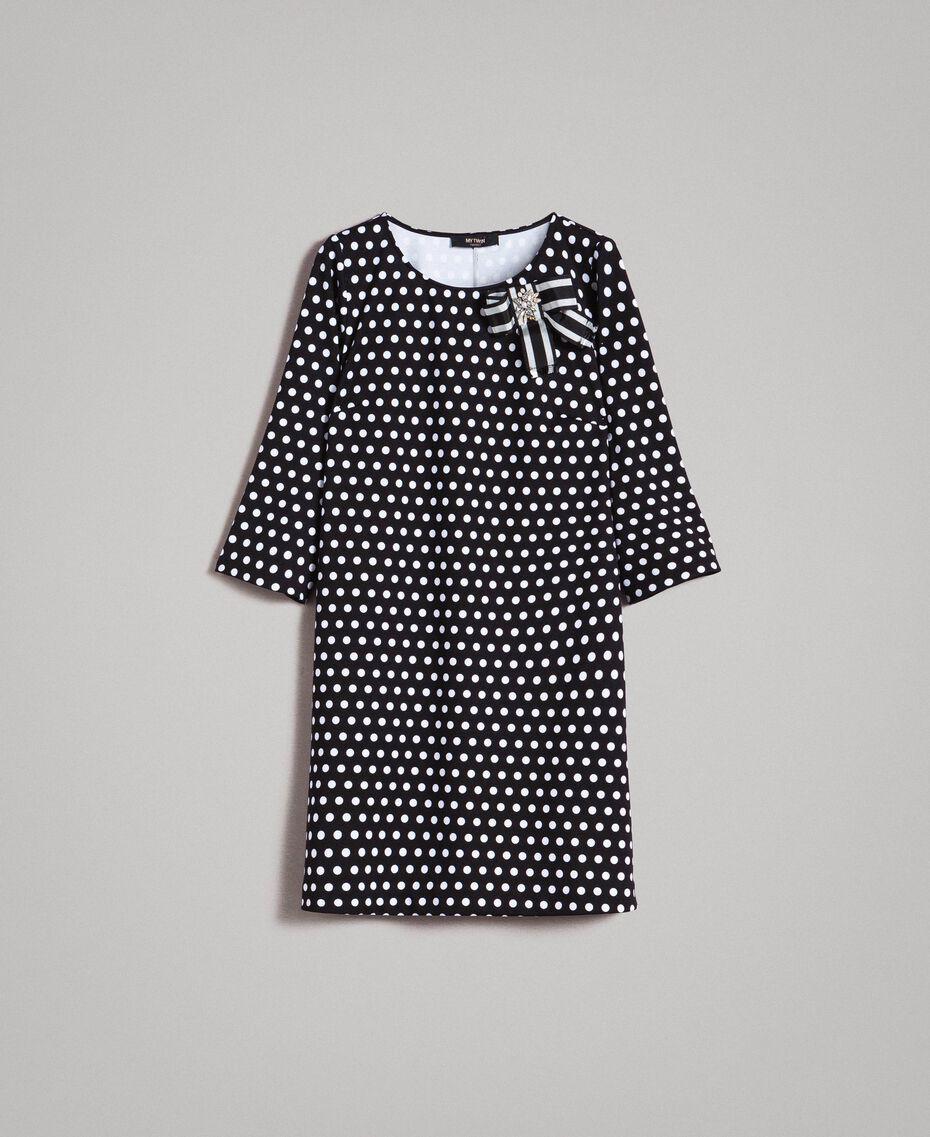 Robe à pois avec broche nœud Bicolore Noir / Blanc Femme 191MP2361-0S