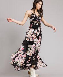 """Robe longue en georgette à imprimé floral Imprimé Noir Rose """"Fleur De Pêcher"""" Femme 191TP2717-03"""