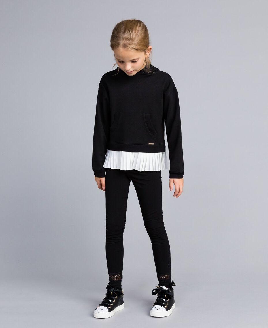 Sweat en point de Milan avec finition plissée Bicolore Noir / Blanc Cassé Enfant GA82FP-0S