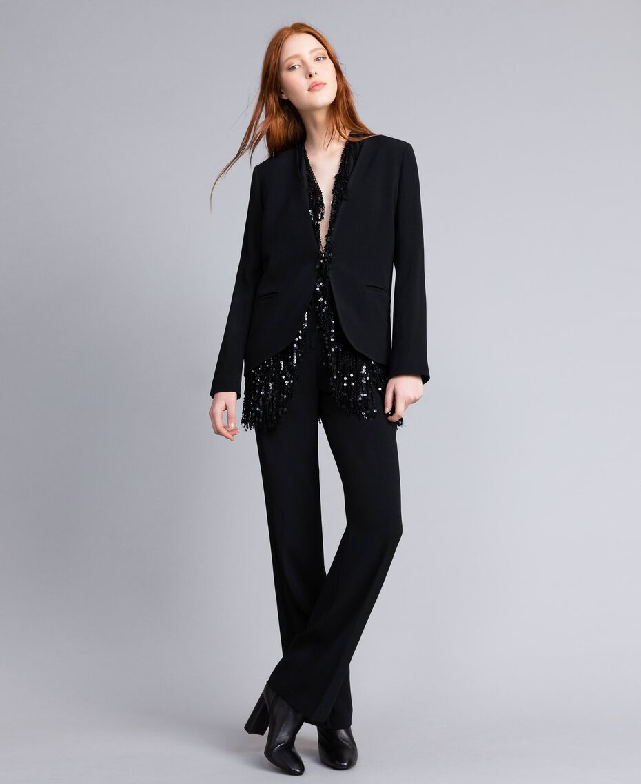 Envers satin tuxedo jacket Black Woman QA8TGN-05
