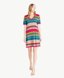 Kleid mit Lurex Multicolor-Lurexstreifen Frau TS833P-01