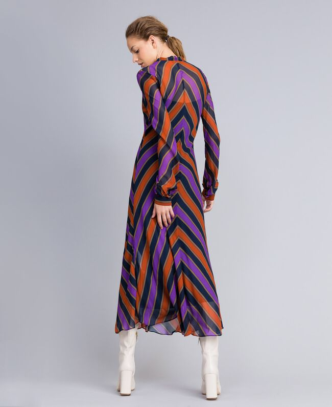 Long striped georgette dress Multicolour Stripe Print Woman TA8294-03
