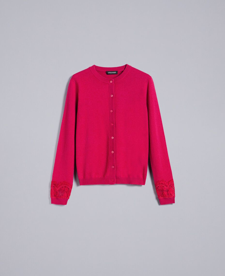 "Wool and cashmere mandarin collar top with lace ""Azalea"" Fuchsia Woman TA83AJ-0S"