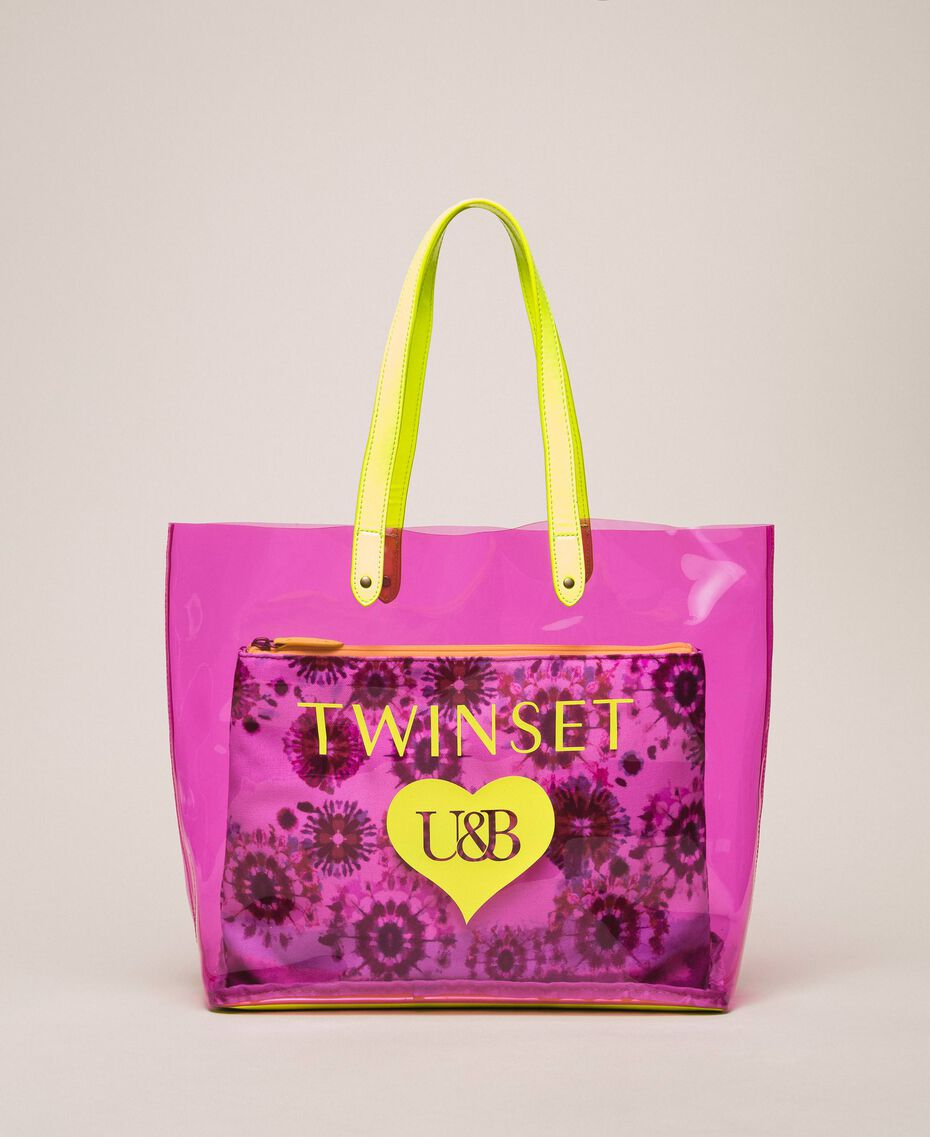 Beach bag with pochette Flirty Rose Multicolour Print Woman 201LB7GTT-02