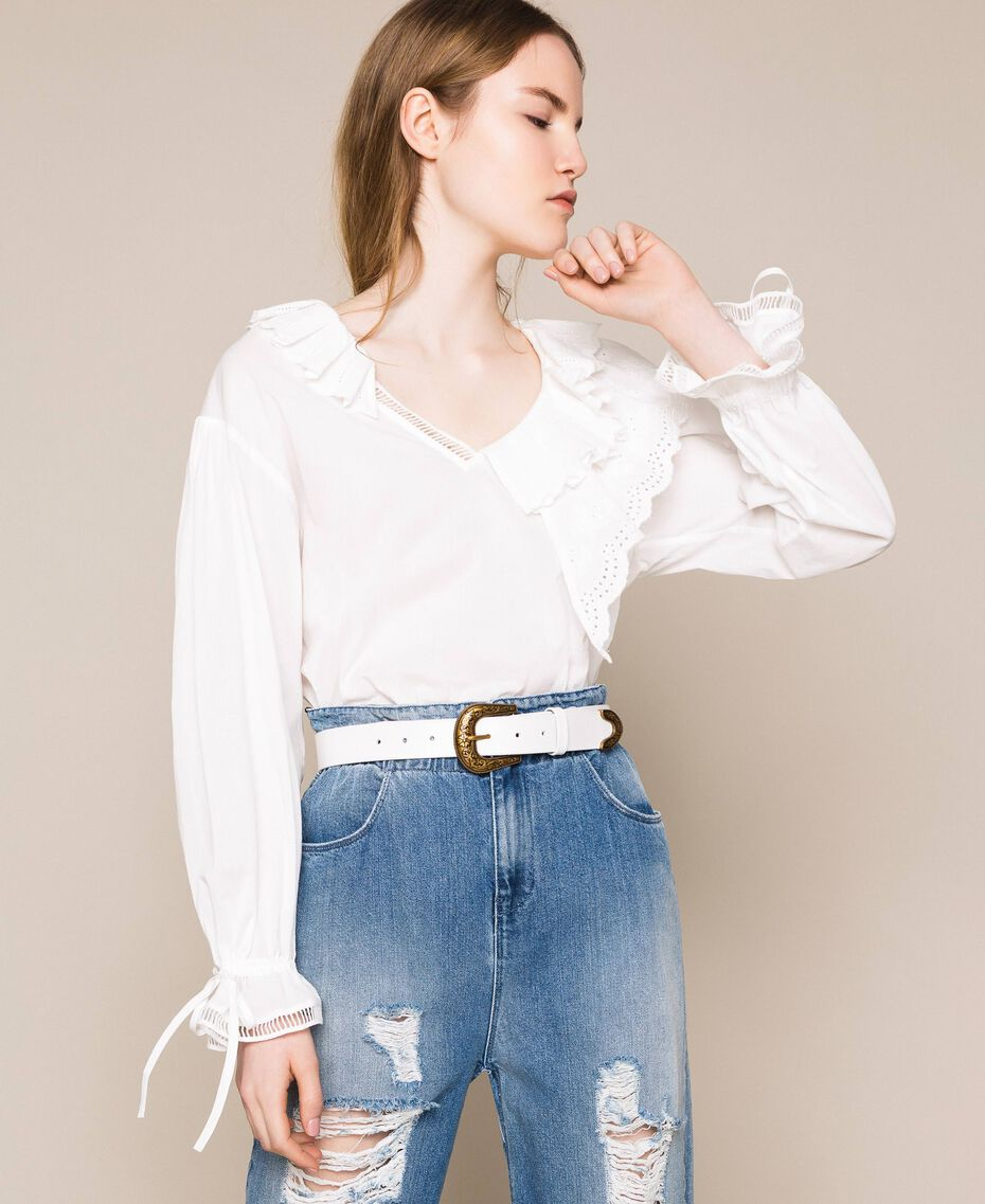 Leather belt with Texas buckle Ivory Woman 201TA4344-0S