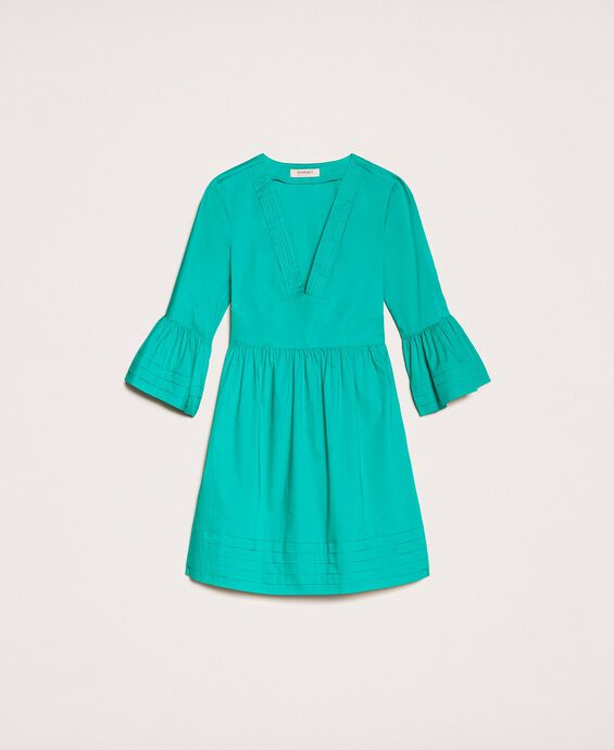 Poplin dress with pleats